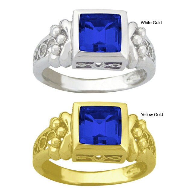 10k Gold Synthetic Sapphire Filigree Ring