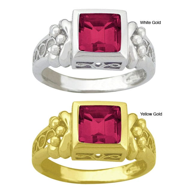 10k Gold Synthetic Ruby Filigree Ring