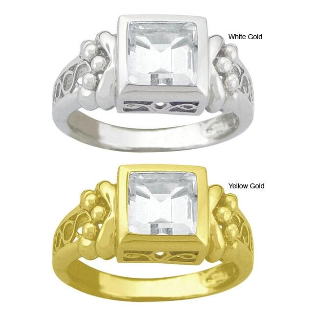 10k Gold Synthetic White Zircon Filigree Ring