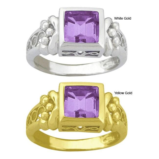 10k Gold Synthetic Amethyst Filigree Ring