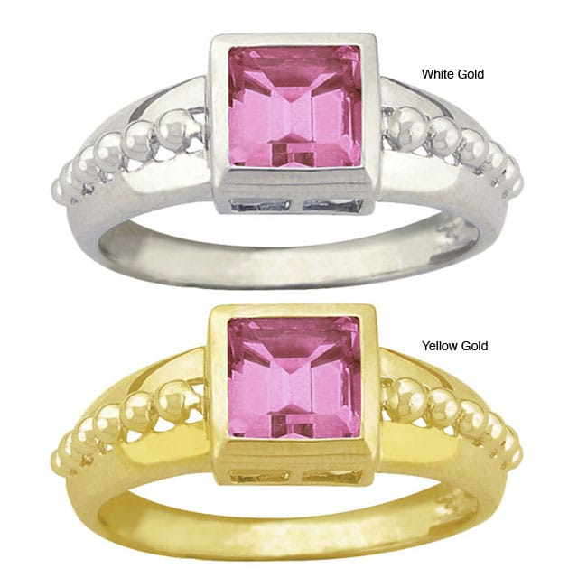 10k Gold Synthetic Rose Zircon Square Ring