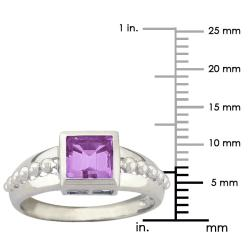 10k Gold Synthetic Amethyst Square Ring