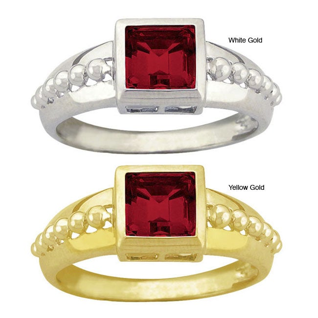 10k Gold Synthetic Garnet Square Ring