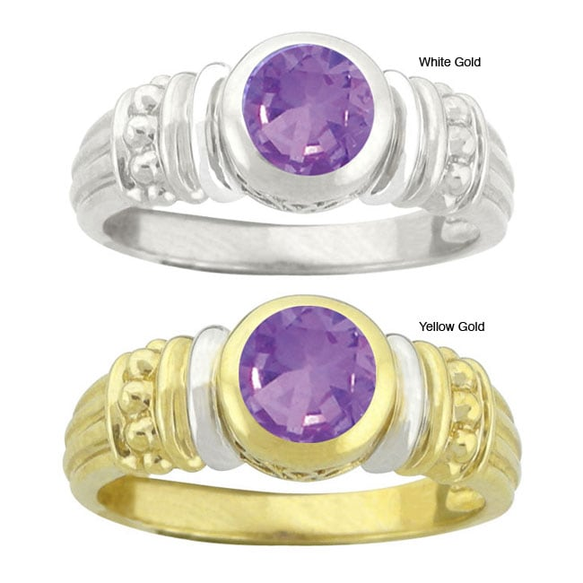 10k Gold Synthetic Amethyst Contemporary Round Ring