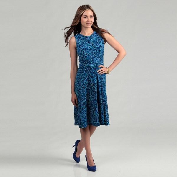 Jessica Howard Women's Abstract Pattern Sleeveless Ruched Waist Dress