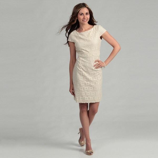 Jessica Howard Women's Iovry Lace Beaded Dress