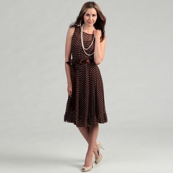 143c51837ad48 Shop Jessica Howard Women's Brown Polka Dot Dress FINAL SALE - Free ...
