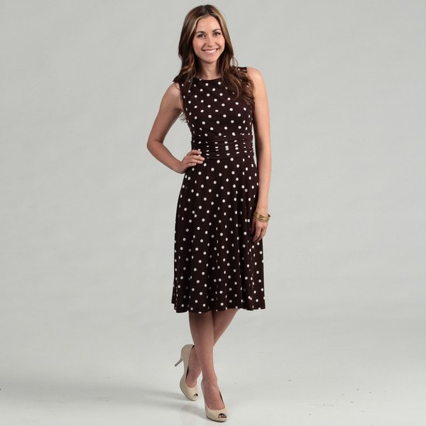 Jessica Howard Women S Brown Polka Dot Ruched Waist Dress