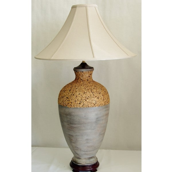 Gray and Tan Textured Table Lamp