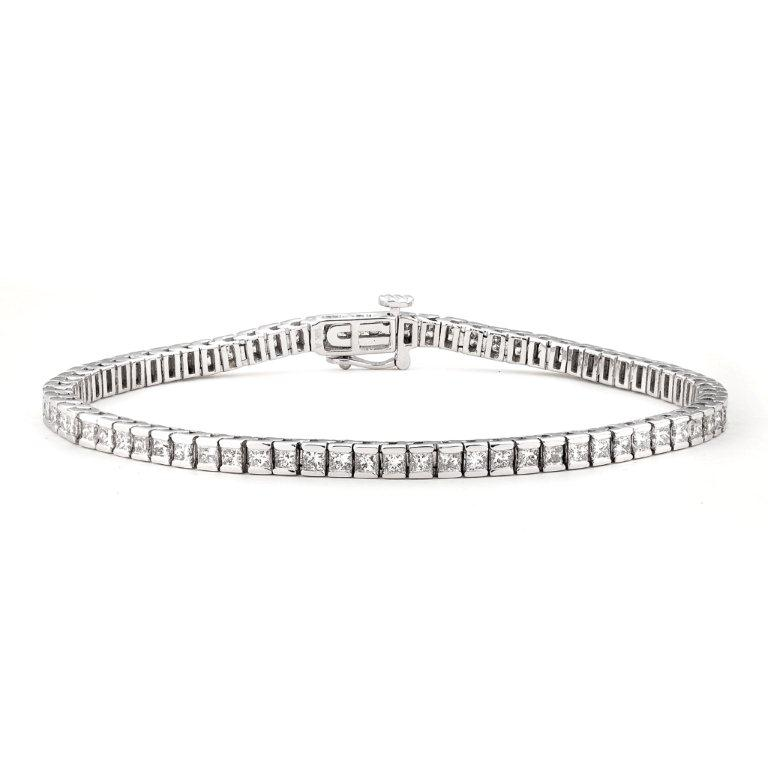 Montebello 14k White Gold 6ct TDW IGL Certified Princess Diamond Tennis Bracelet (H-I, I1)