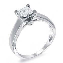 Montebello 14k White Gold 5/8ct TDW Princess Diamond Composite Ring (H-I, I1)