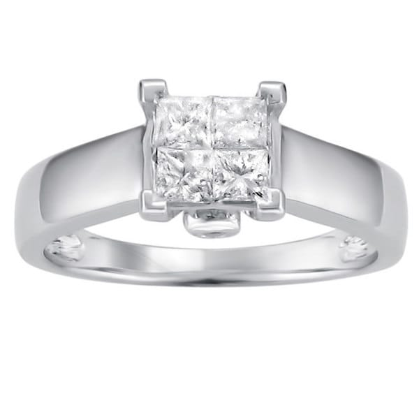 Montebello 14k White Gold 1/2ct TDW Princess Diamond Composite Ring