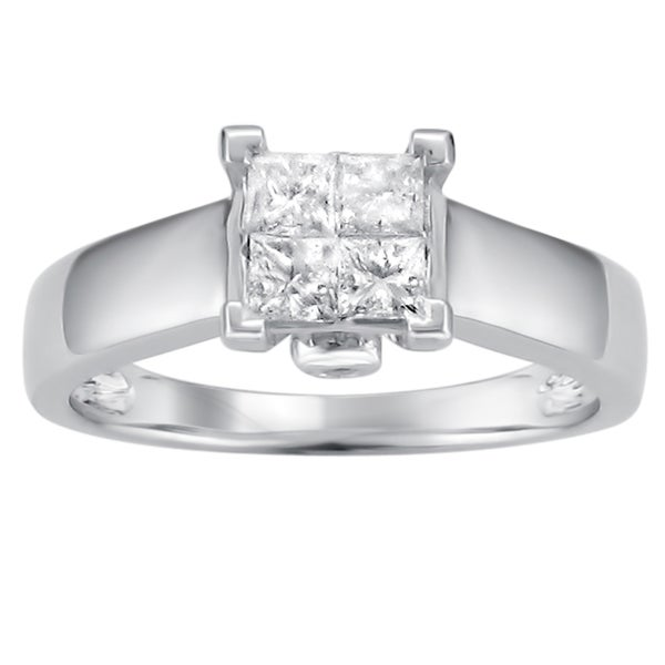 Montebello 14k White Gold 1/2ct TDW Princess Diamond Composite Ring (I-J, I2)