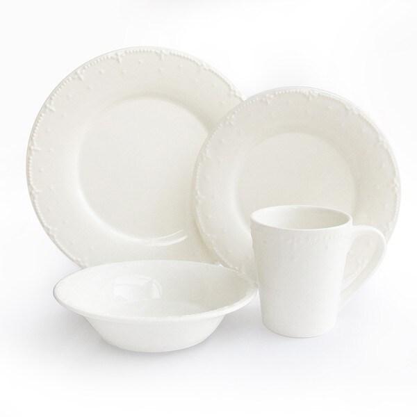 American Atelier White 16-piece Dinnerware Set