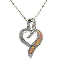 Carolina Glamour Collection Sterling Silver Created Opal and Clear CZ Open Heart Slide Necklace
