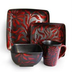 American Atelier Daisy Red 16-piece Dinnerware Set