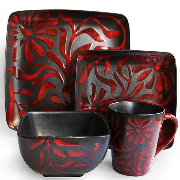 Shop American Atelier Daisy Red 16 Piece Dinnerware Set
