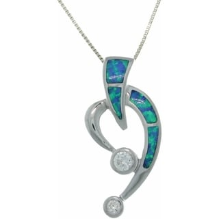 Sterling Silver Created Opal and CZ Open Heart Slide Necklace - Blue