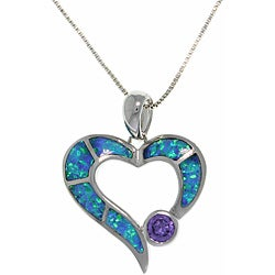 Carolina Glamour Collection Sterling Silver Created Opal and Purple CZ Open Heart Necklace