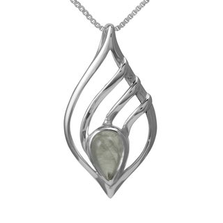 Sterling Silver Teardrop Moonstone Necklace (Thailand)