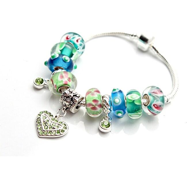 Silvertone 'Truly In Love' Aqua Charm Bracelet