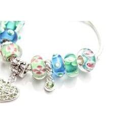 Silvertone 'Truly In Love' Aqua Charm Bracelet - Thumbnail 1