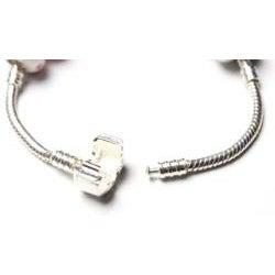 Silvertone 'Truly In Love' Aqua Charm Bracelet - Thumbnail 2