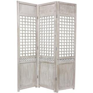 Handmade Wood Open Lattice Room Divider (China) - 69.5 x 17.25