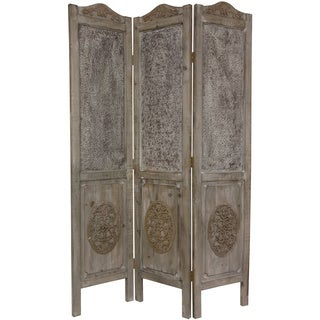 Handmade Closed Mesh 6-foot Antique Design Room Divider (China) - 74.5 x 50.5