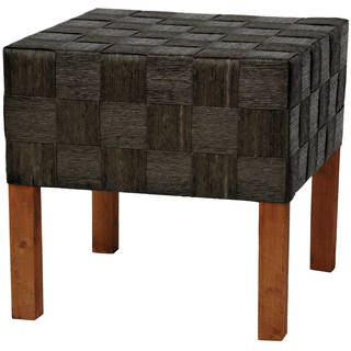 Handmade Woven-fiber Rush Grass/Wood Artisan Foot Stool (China)