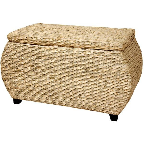 Handmade Wood Rush Grass Storage Box (China)