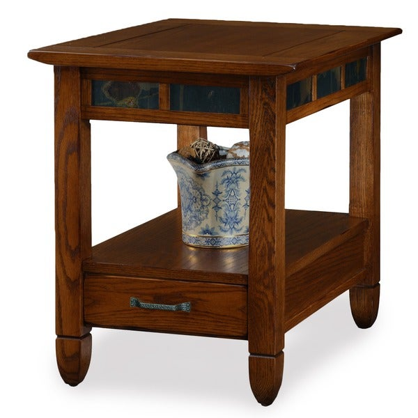 Shop Rustic Oak End Table Free Shipping Today Overstock Com