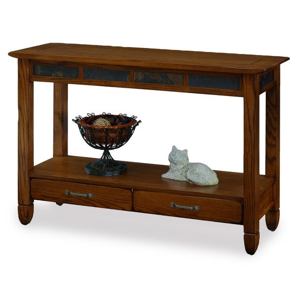 Rustic Oak and Slate Tile Sofa Table