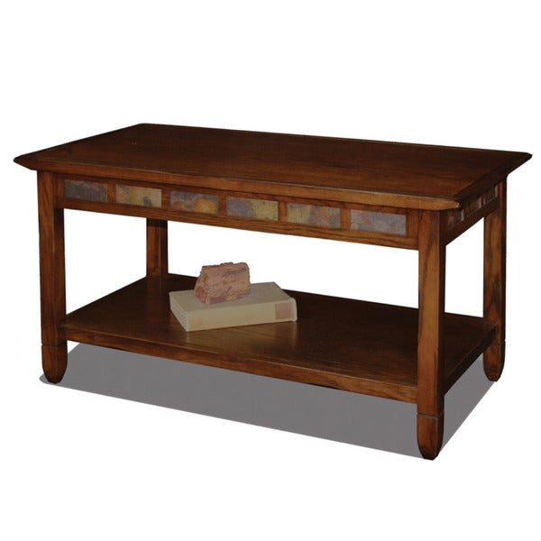 Slate Coffee Table With Drawers: Shop Pine Canopy Ixia Rustic Oak And Slate Tile Coffee