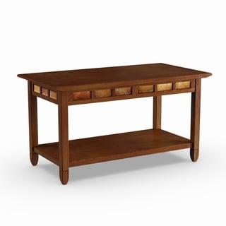 Copper Grove Ixia Rustic Oak and Slate Tile Coffee Table