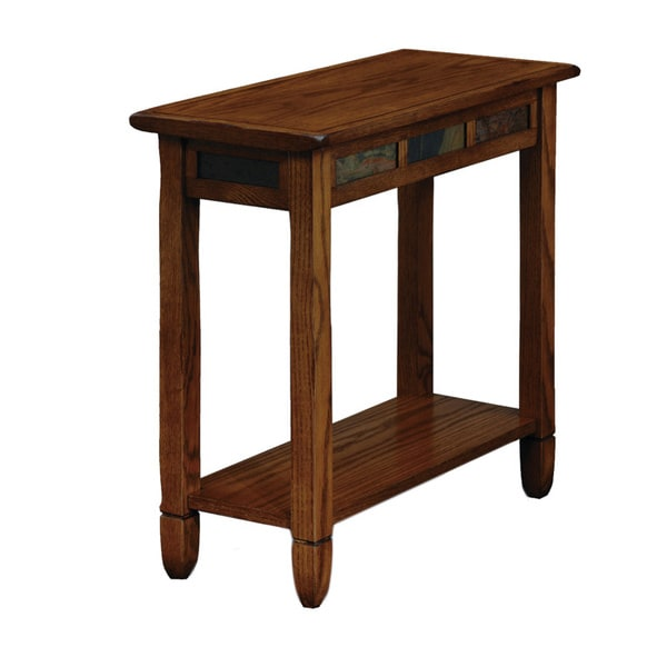 Favorite Finds Rustic Oak and Slate Tile Chairside Table