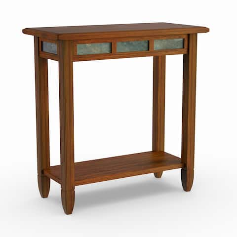 Copper Grove Ixia Rustic Oak and Slate Tile Chairside Table