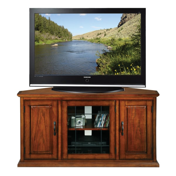 Shop Burnished Oak 50 Inch Tv Stand And Media Corner Console Free