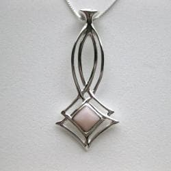 Sterling Silver Pink Opal and Dendrite Necklace (Thailand)