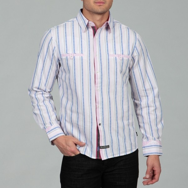 English Laundry Men's Stripe Woven Shirt