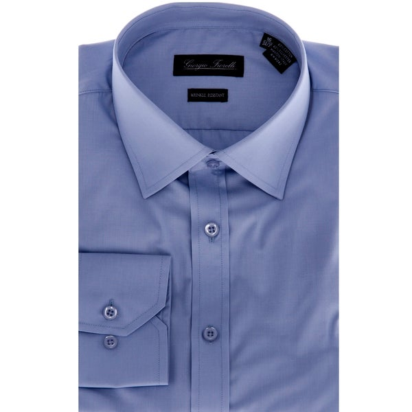 Men's Blue Slim-Fit Dress Shirt