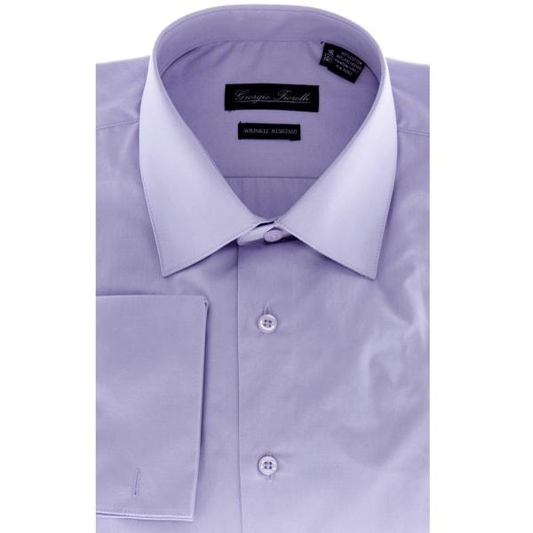 Mens Lavender Modern-Fit Dress Shirt
