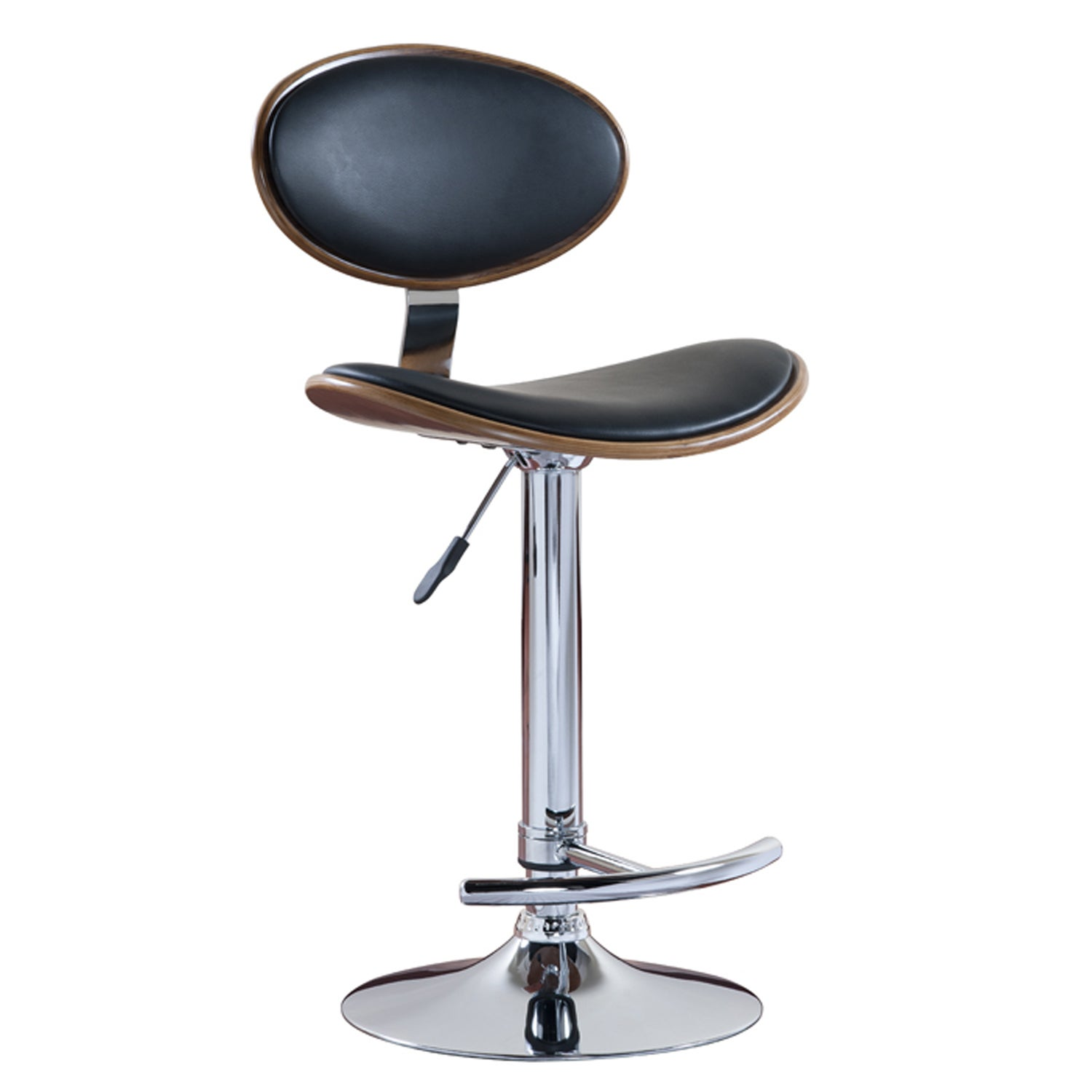 Favorite Finds Chrome/Walnut/Black Oval Adjustable Swivel Stool (Set of 2)