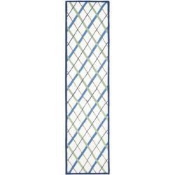 Safavieh Handmade Children's Ivory/ Blue N. Z. Wool Rug (2'3 x 9')