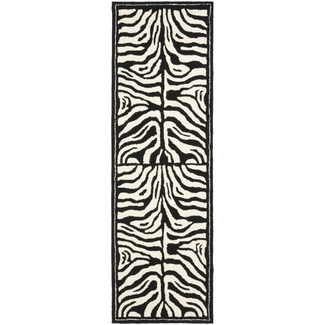 "Safavieh Handmade New Zealand Wool Zebra Black and Ivory Rug - 2'6"" x 8'"