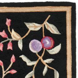 Safavieh Simply Clean Botanical Hand-hooked Black Rug (2' 6 x 10') - Thumbnail 1