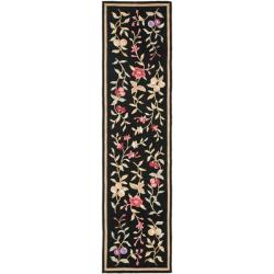 Safavieh Simply Clean Botanical Hand-hooked Black Rug (2' 6 x 10')