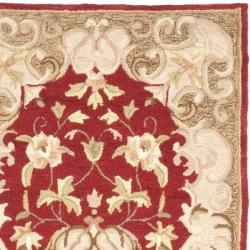 Safavieh Hand-hooked Easy Care Aubusson Rust/ Sage Rug (2' 6 x 8') - Thumbnail 1