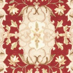 Safavieh Hand-hooked Easy Care Aubusson Rust/ Sage Rug (2' 6 x 8') - Thumbnail 2