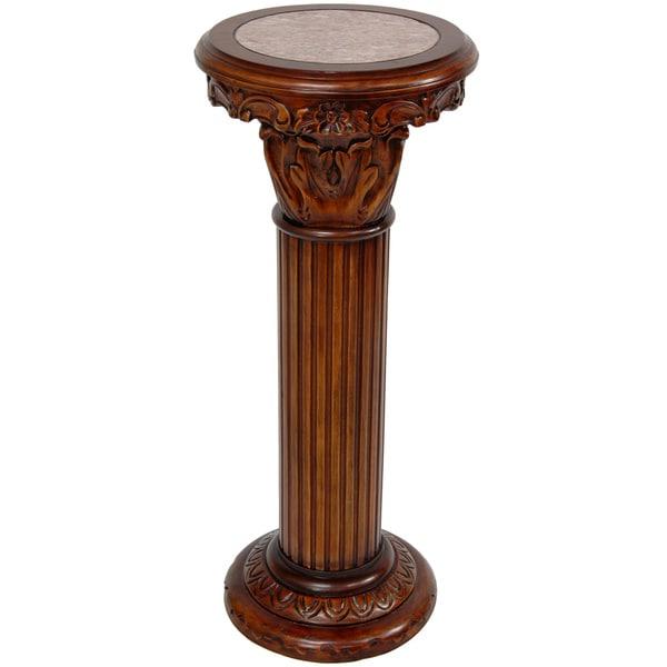 Handmade Wood 36 Inch Lydian Column Pedestal Stand